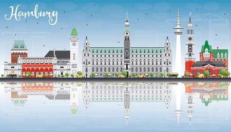 Skyline de Hambourg avec bâtiments gris, ciel bleu et reflets. Illustration vectorielle Concept de voyage et de tourisme d'affaires avec architecture historique. Image pour la bannière de présentation et le site Web.