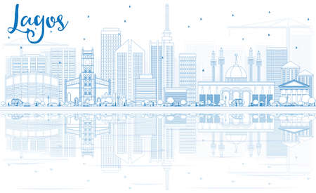 lagos: Outline Lagos Skyline with Blue Buildings and Reflections. Vector Illustration. Business Travel and Tourism Concept with Modern Architecture. Image for Presentation Banner Placard and Web Site.