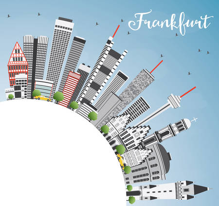 frankfurt: Frankfurt Skyline with Gray Buildings, Blue Sky and Copy Space. Vector Illustration. Business Travel and Tourism Concept with Modern Architecture. Image for Presentation Banner Placard and Web Site.