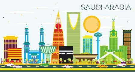 Arabie Saoudite Skyline avec repères de couleur et ciel bleu. Illustration vectorielle Concept de voyages d'affaires et de tourisme. Image pour la bannière de présentation et le site Web. Vecteurs