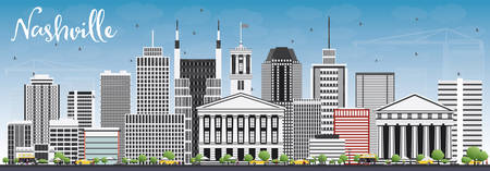 Nashville Skyline with Gray Buildings and Blue Sky. Vector Illustration. Business Travel and Tourism Concept with Modern Architecture. Image for Presentation Banner Placard and Web Site. Illustration
