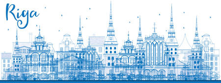 Outline Riga Skyline with Blue Landmarks. Vector Illustration. Business Travel and Tourism Concept with Historic Architecture. Image for Presentation Banner Placard and Web Site.