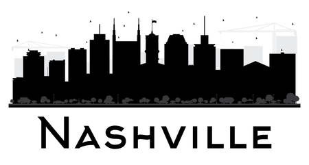 Nashville City skyline black and white silhouette. Vector illustration. Simple flat concept for tourism presentation, banner, placard or web site. Business travel concept. Cityscape with landmarks