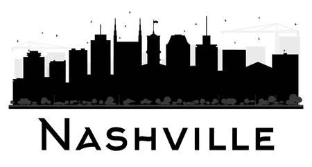 Nashville City skyline zwart en wit silhouet. Vector illustratie. Eenvoudig plat concept voor toeristische presentatie, banner, plakkaat of website. Zakelijke reizen concept. Stadsgezicht met bezienswaardigheden