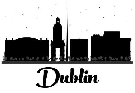 ireland cities: Dublin City skyline black and white silhouette. Vector illustration. Simple flat concept for tourism presentation, banner, placard or web site. Business travel concept. Cityscape with famous landmarks