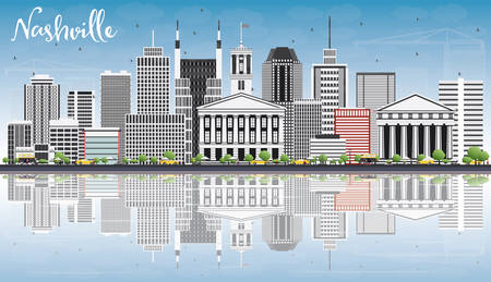 Nashville Skyline with Gray Buildings, Blue Sky and Reflections. Vector Illustration. Business Travel and Tourism Concept with Modern Architecture. Image for Presentation Banner Placard and Web Site.