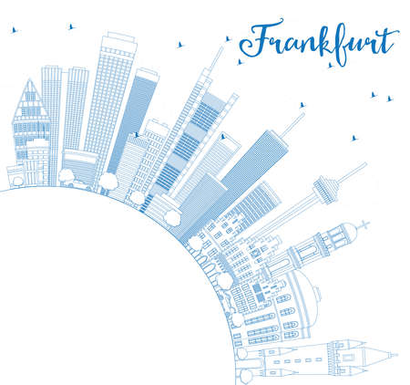 frankfurt: Outline Frankfurt Skyline with Blue Buildings and Copy Space. Vector Illustration. Business Travel and Tourism Concept with Modern Architecture. Image for Presentation Banner Placard and Web Site. Illustration