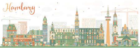 Skyline de Hambourg abstrait avec des bâtiments de couleur. Illustration vectorielle Concept de voyage d'affaires et de tourisme avec l'architecture historique. Image pour Placard de bannière de présentation et site Web.