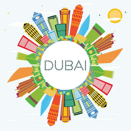 Dubai Skyline with Color Buildings, Blue Sky and Copy Space. Vector Illustration. Business Travel and Tourism Concept with Modern Architecture. Image for Presentation and Banner.