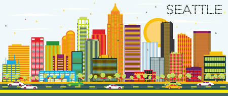 Abstract Seattle Skyline with Color Buildings. Vector Illustration. Business Travel and Tourism Concept with Modern Architecture. Image for Presentation Banner Placard and Web Site. Illustration