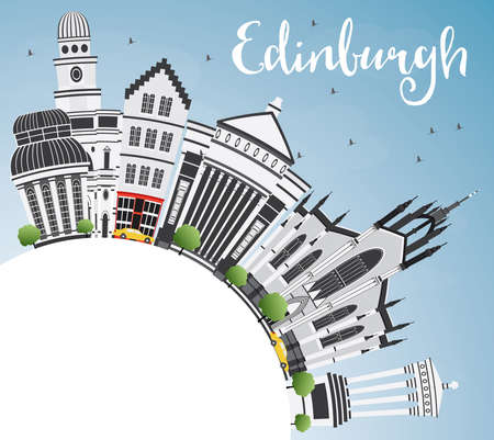 Edinburgh Skyline with Gray Buildings, Blue Sky and Copy Space. Vector Illustration. Business Travel and Tourism Concept with Historic Architecture. Image for Presentation Banner Placard and Web Site.