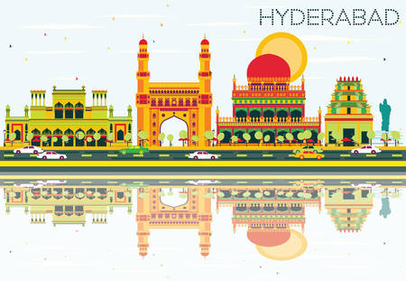 Abstract Hyderabad Skyline with Color Landmarks and Reflections. Vector Illustration. Business Travel and Tourism Concept with Historic Architecture. Image for Presentation Banner Placard and Web Site.