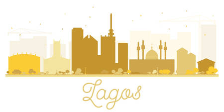 lagos: Lagos City skyline golden silhouette. Vector illustration. Simple flat concept for tourism presentation, banner, placard or web site. Business travel concept. Cityscape with landmarks Illustration
