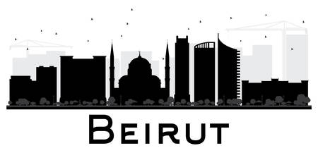 lebanon: Beirut City skyline black and white silhouette. Vector illustration. Simple flat concept for tourism presentation, banner, placard or web site. Business travel concept. Cityscape with landmarks