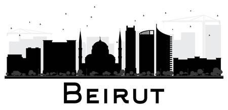 Silueta blanco y negro del horizonte de la ciudad de Beirut. Ilustración del vector. Concepto plano simple para la presentación del turismo, la bandera, el cartel o el Web site. Concepto de viajes de negocios. Paisaje urbano con puntos de referencia