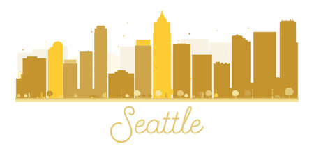 Seattle City skyline golden silhouette. Vector illustration. Simple flat concept for tourism presentation, banner, placard or web site. Business travel concept. Cityscape with landmarks