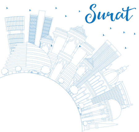 Outline Surat Skyline with Blue Buildings and Copy Space. Vector Illustration. Business Travel and Tourism Concept with Historic Architecture. Image for Presentation Banner Placard and Web Site. Illustration