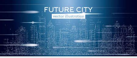 Grande ville avec des gratte-ciel néon et flash. Illustration vectorielle Concept de voyages d'affaires et de tourisme avec des bâtiments en demi-teintes. Image pour présentation, bannière, affiche ou site Web.