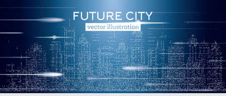 Big city with neon skyscrapers and flash. Vector illustration. Business travel and tourism concept with halftone buildings. Image for presentation, banner, placard or web site. Illustration