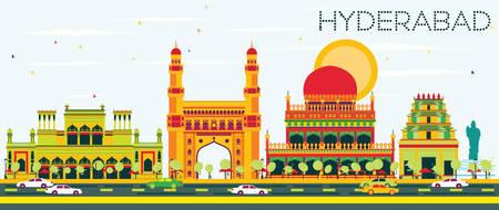 Abstracte Hyderabad Skyline met kleur Landmarks. Vector illustratie. Bedrijfsreis en toerismeconcept met historische architectuur. Afbeelding voor presentatie Banner Aanplakbiljet en website. Stock Illustratie