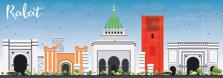 panorama city: Rabat Skyline with Gray Buildings and Blue Sky. Vector Illustration. Business Travel and Tourism Concept with Historic Architecture. Image for Presentation Banner Placard and Web Site.
