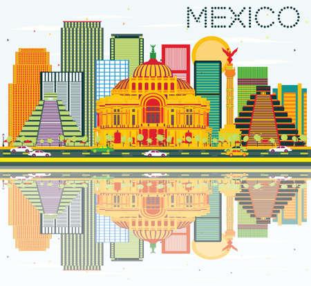 angel de la independencia: Horizonte de México, con edificios de colores, el cielo azul y las reflexiones. Ilustración del vector. Los viajes de negocios concepto de turismo y de edificios históricos. Imagen para la presentación y la bandera.