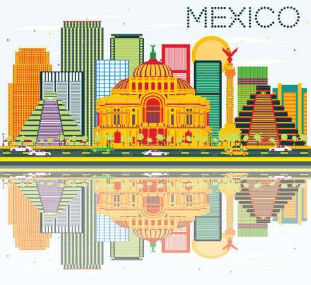 Mexico Skyline with Color Buildings, Blue Sky and Reflections. Vector Illustration. Business Travel and Tourism Concept with Historic Buildings. Image for Presentation and Banner. Illustration