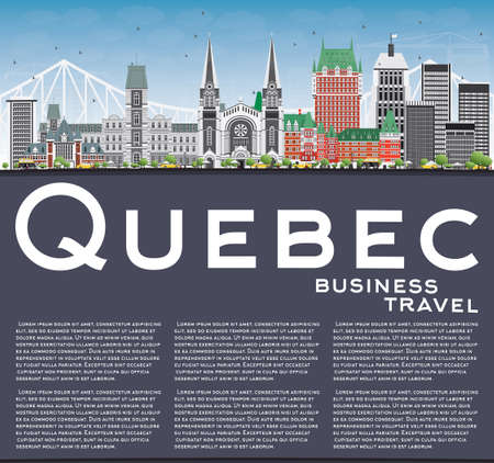quebec: Quebec Skyline with Gray Buildings, Blue Sky and Copy Space. Vector Illustration. Business Travel and Tourism Concept with Historic Architecture. Image for Presentation Banner Placard and Web Site. Illustration