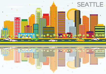 Abstract Seattle Skyline with Color Buildings and Reflections. Vector Illustration. Business Travel and Tourism Concept with Modern Architecture. Image for Presentation Banner Placard and Web Site.  イラスト・ベクター素材