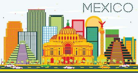 angel de la independencia: Horizonte de México, con edificios de colores y el cielo azul. Ilustración del vector. Los viajes de negocios concepto de turismo y de edificios históricos. Imagen para la presentación y la bandera. Vectores