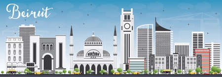 Horizonte de Beirut con Gray Buildings y Blue Sky. Ilustración vectorial Viajes de negocios y concepto de turismo con arquitectura moderna. Imagen para la Presentación Banner Placard y sitio web.