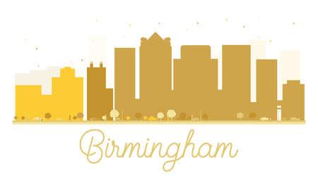 birmingham: Birmingham City skyline golden silhouette. Vector illustration. Simple flat concept for tourism presentation, banner, placard or web site. Business travel concept. Cityscape with landmarks