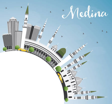 Medina Skyline with Gray Buildings, Blue Sky and Copy Space. Vector Illustration. Business Travel and Tourism Concept with Historic Architecture. Image for Presentation Banner Placard and Web Site.