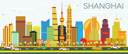 Abstract Shanghai Skyline with Color Buildings and Blue Sky. Vector Illustration. Business Travel and Tourism Concept with Modern Architecture. Image for Presentation Banner Placard and Web Site. Illustration