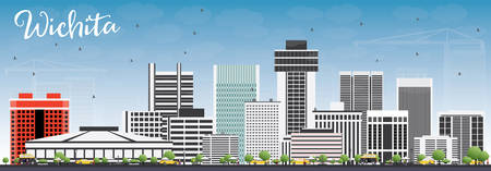 Wichita Skyline with Gray Buildings and Blue Sky. Vector Illustration. Business Travel and Tourism Concept with Modern Architecture. Image for Presentation Banner Placard and Web Site.