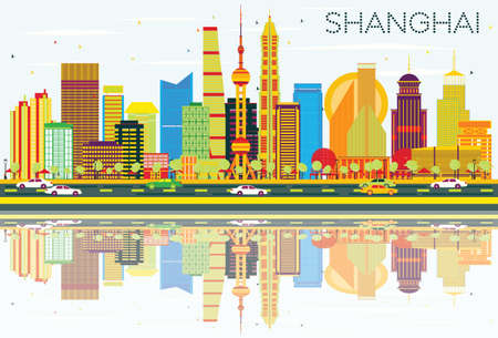 Abstract Shanghai Skyline with Color Buildings, Blue Sky and Reflections. Vector Illustration. Business Travel and Tourism Concept with Modern Architecture. Image for Presentation Banner Placard and Web. 向量圖像