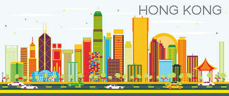 Abstract Hong Kong Skyline with Color Buildings and Blue Sky. Vector Illustration. Business Travel and Tourism Concept with Modern Architecture. Image for Presentation Banner Placard and Web Site.  イラスト・ベクター素材