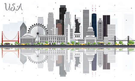 USA Skyline with Gray Skyscrapers, Landmarks and Reflections. Vector Illustration. Business Travel and Tourism Concept with Modern Architecture. Image for Presentation Banner Placard and Web Site.