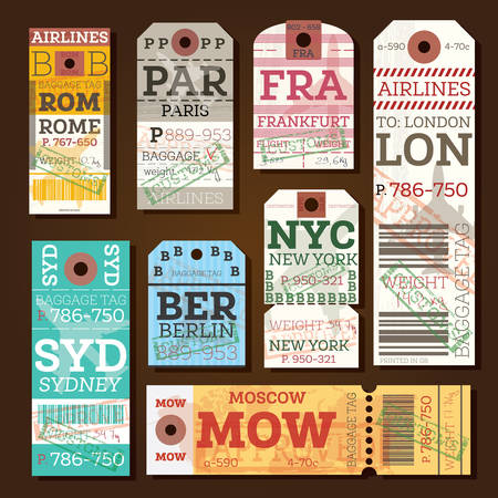 frankfurt: Retro Baggage Tags. Vector Illustration. Luggage Label from Rome, Paris, Frankfurt, London, Sydney, Berlin, Moscow and New York.