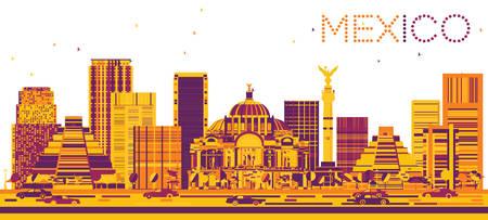 angel de la independencia: Horizonte de México con edificios de color. Ilustración del vector. Los viajes de negocios concepto de turismo y con la arquitectura moderna. Imagen para la presentación y la bandera. Vectores