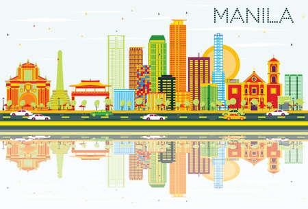 色の建物、青空の反射とマニラのスカイライン。ベクトルの図。ビジネス旅行と観光コンセプト モダンな建築。プレゼンテーション バナー プラカ  イラスト・ベクター素材