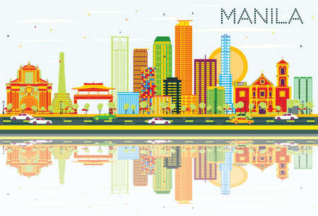 Manila Skyline with Color Buildings, Blue Sky and Reflections. Vector Illustration. Business Travel and Tourism Concept with Modern Architecture. Image for Presentation Banner Placard and Web Site.