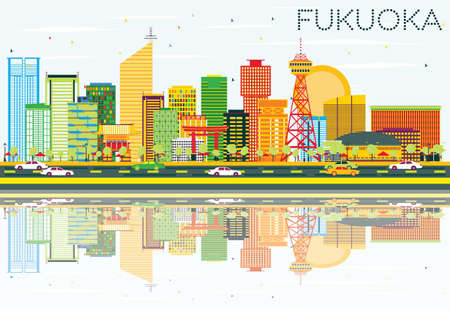 Abstract Fukuoka Skyline with Color Buildings, Blue Sky and Reflections. Vector Illustration. Business Travel and Tourism Concept with Modern Architecture. Image for Presentation Banner Placard and Web Site.