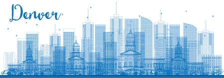 denver buildings: Outline Denver Skyline with Blue Buildings. Vector Illustration. Business Travel and Tourism Concept with Modern Architecture. Image for Presentation Banner Placard and Web Site.