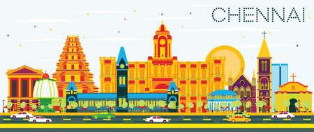 taxi: Chennai Skyline con Señales de colores y el cielo azul. Ilustración del vector. Los viajes de negocios concepto de turismo y con la arquitectura histórica. Presentación de imágenes del banner de cartel y del sitio Web.