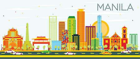 색 건물와 푸른 하늘 마닐라 스카이 라인. 벡터 일러스트 레이 션. 비즈니스 여행 및 현대 건축과 관광 개념입니다. 프레젠테이션 배너 플래 카드 및 웹