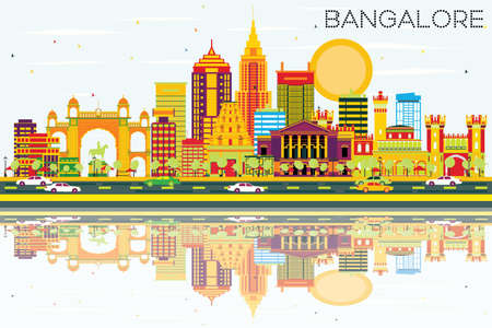 Bangalore Skyline with Color Buildings, Blue Sky and Reflections. Vector Illustration. Business Travel and Tourism Concept with Historic Architecture. Image for Presentation Banner Placard and Web Site.