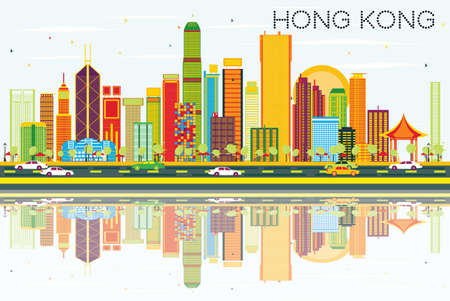 Abstract Hong Kong Skyline with Color Buildings, Blue Sky and Reflections. Vector Illustration. Business Travel and Tourism Concept with Modern Architecture. Image for Presentation Banner Placard and Web Site.