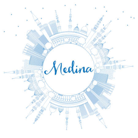 Outline Medina Skyline with Blue Buildings and Copy Space. Vector Illustration. Business Travel and Tourism Concept with Historic Architecture. Image for Presentation Banner Placard and Web Site. Vetores