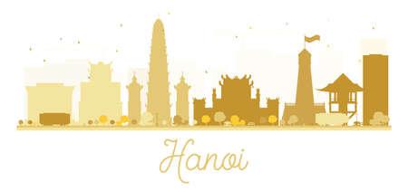 Hanoi City skyline golden silhouette. Vector illustration. Simple flat concept for tourism presentation, banner, placard or web site. Business travel concept. Cityscape with famous landmarks Illustration
